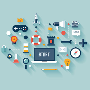 laptop with start on screen egg timer game controller rocket ship compass lightbulb wrench speech bubble megaphone pencil magnifying glass test tube with red liquid lock gear ribbon freepoint technologies