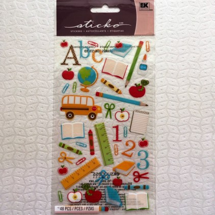 Back to school Scrapbook Ideas to Make School Days Ruler Pencil Crayons Bus Ek Success Clear Stickers