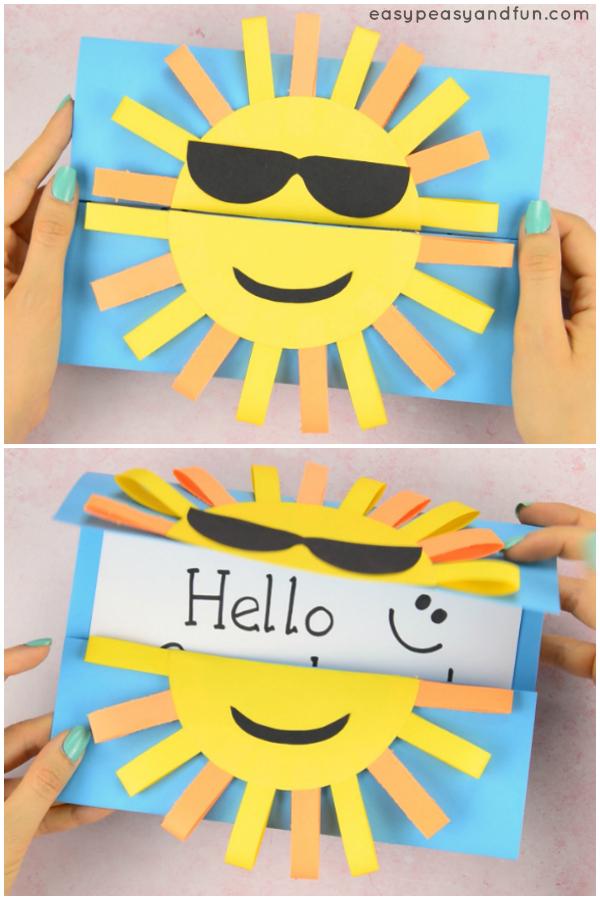 Card Paper Craft Sun Diy Paper Card Idea For Kids card paper craft getfuncraft.com