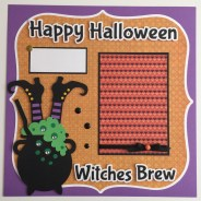 Ornaments to Apply on Halloween Scrapbook Pages Premade 12x12 Halloween Scrapbook Page Layouts Witches Brew
