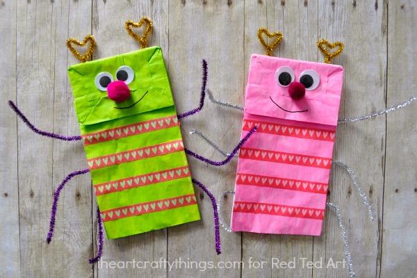 Paper Bag Valentine Crafts Paper Bag Crafts Adorable Love Bug Puppet A Great Valentines Day Craft Or Activity For Kids 2 paper bag valentine crafts  getfuncraft.com