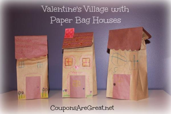 Paper Bag Valentine Crafts Valentines Village With Paper Bag Houses paper bag valentine crafts  getfuncraft.com