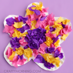 Paper Craft For Kids Flowers Paper Plate Tissue Paper Flower Craft For Kids