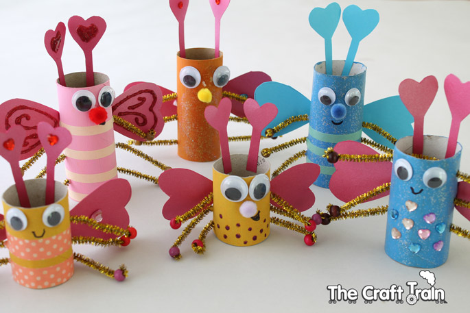 Paper Roll Craft Ideas Tp Roll Love Bugs For Valentines Day paper roll craft ideas  getfuncraft.com