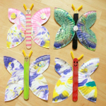 Tissue Paper Butterfly Craft How To Make Paper Plate Butterflies tissue paper butterfly craft|getfuncraft.com