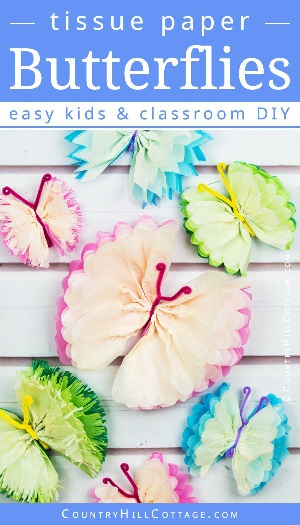 Tissue Paper Crafts Ideas Country Hill Cottage Tissue Paper Butterflies Diy Paper Craft Tutorial 21 tissue paper crafts ideas|getfuncraft.com