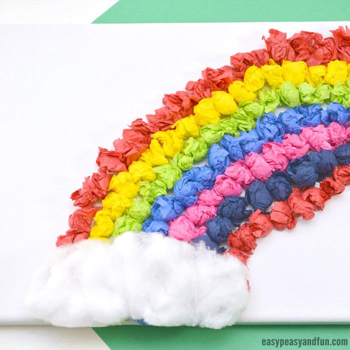 Tissue Paper Crafts Ideas Tissue Paper Rainbow Canvas Art Idea tissue paper crafts ideas|getfuncraft.com