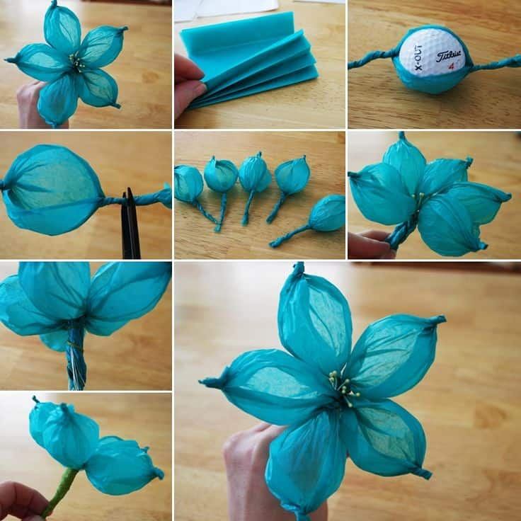 Tissue Paper Crafts Ideas Wide Petalled Flowers Golf Ball Flowers tissue paper crafts ideas|getfuncraft.com