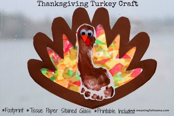 Tissue Paper Turkey Craft 1 Turkey Craft Thanksgiving Stained Glass Tissue Paper Footprint 001 tissue paper turkey craft |getfuncraft.com