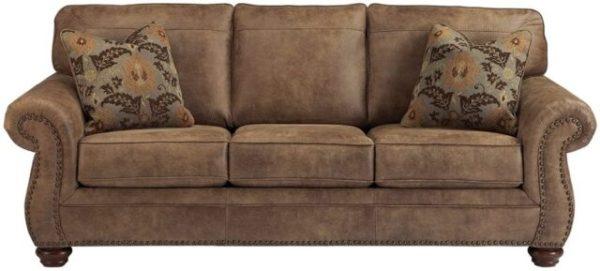 Signature Design by Ashley - Larkinhurst Contemporary Faux Leather Sofa w/ Nailhead Trim, Earth