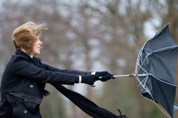Photo of woman in windy storm