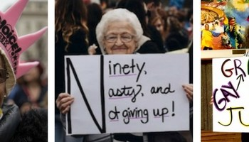 Photo of 3 women at Womens March in January 2017