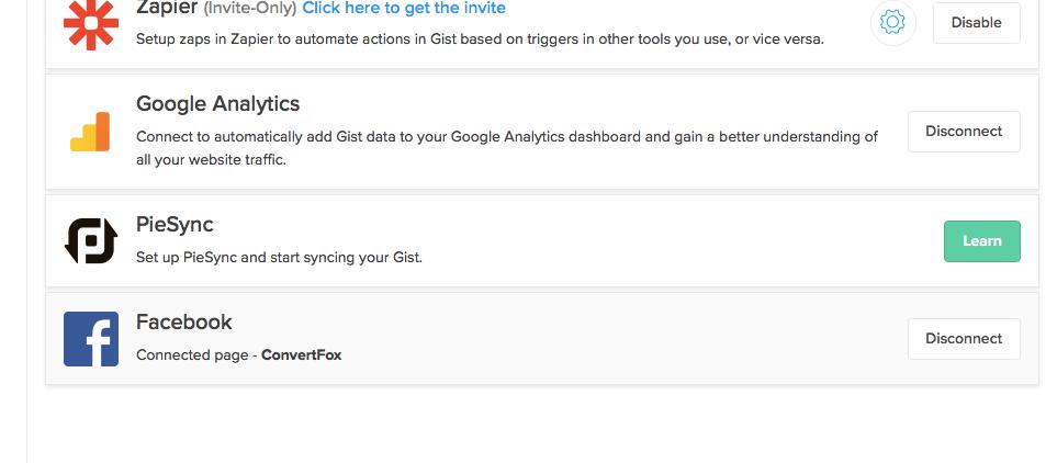 Gist Facebook Integration