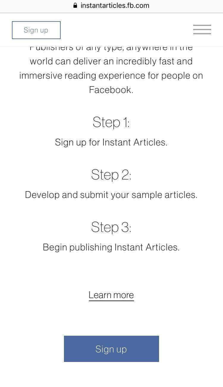 Facebook Instant Articles Steps