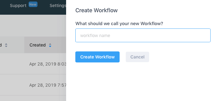 Gist New UI create workflow