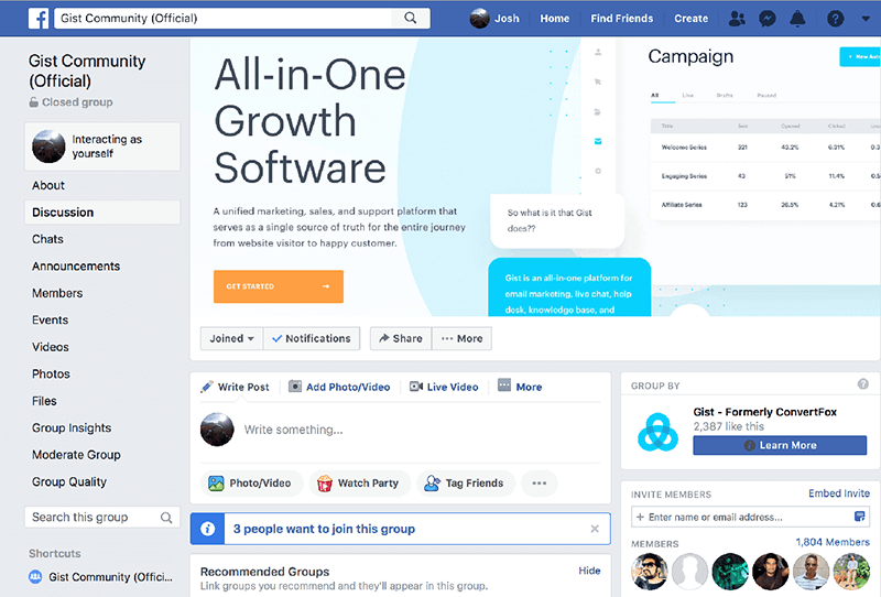 Gist how to grow a facebook group