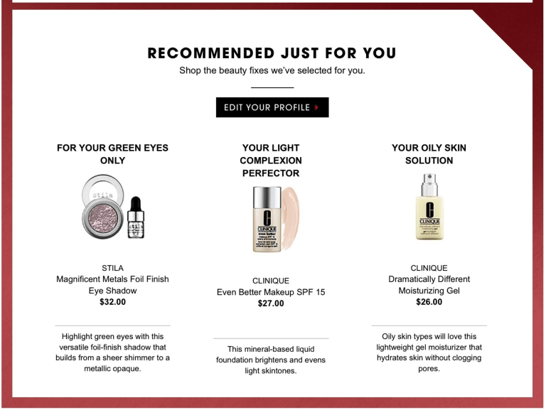 Clinique personalized product recommendations