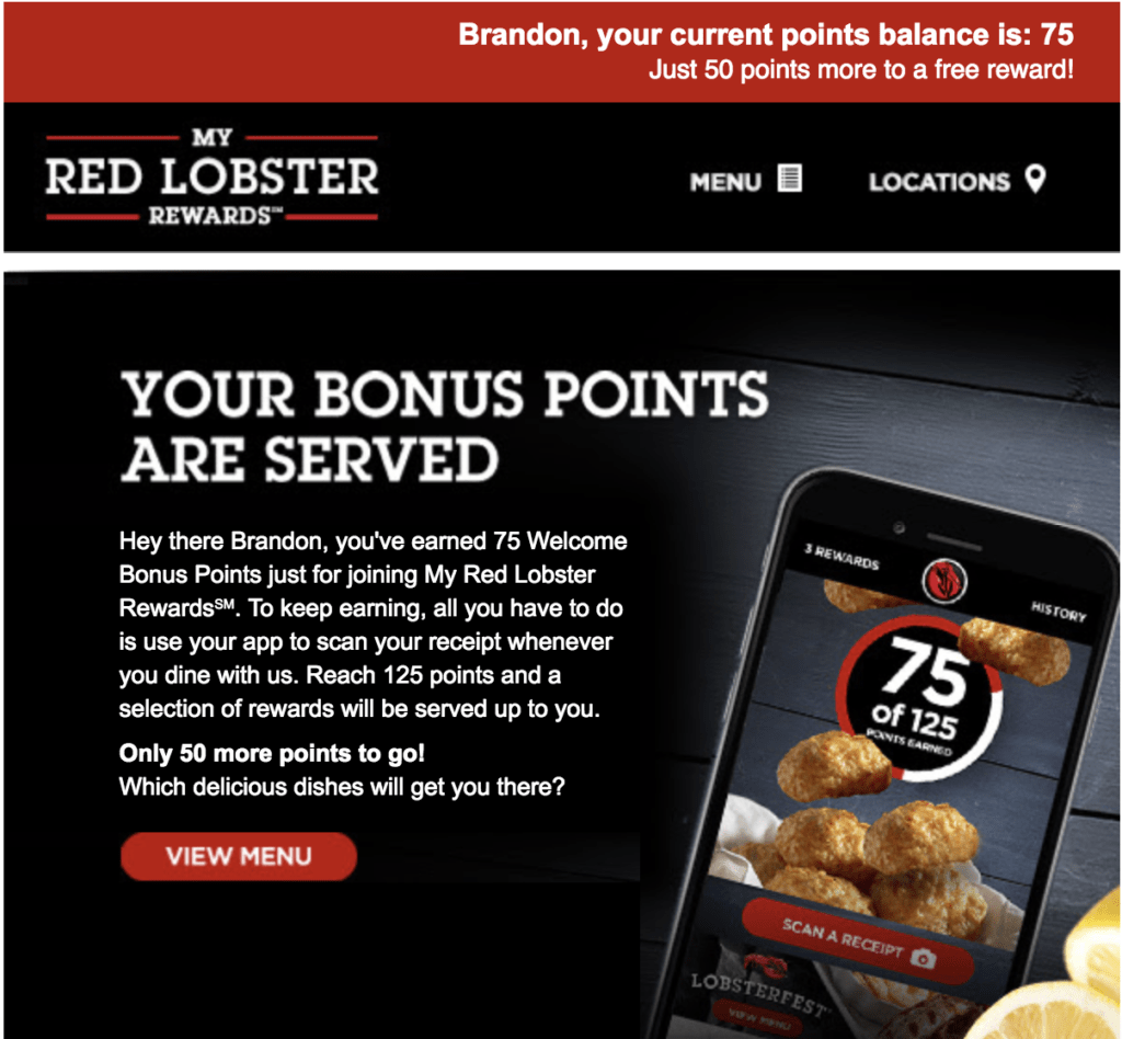 Red Lobster email personalization