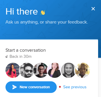 Live chat Pop-up box