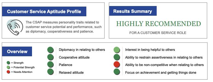 Customer service aptitude profile