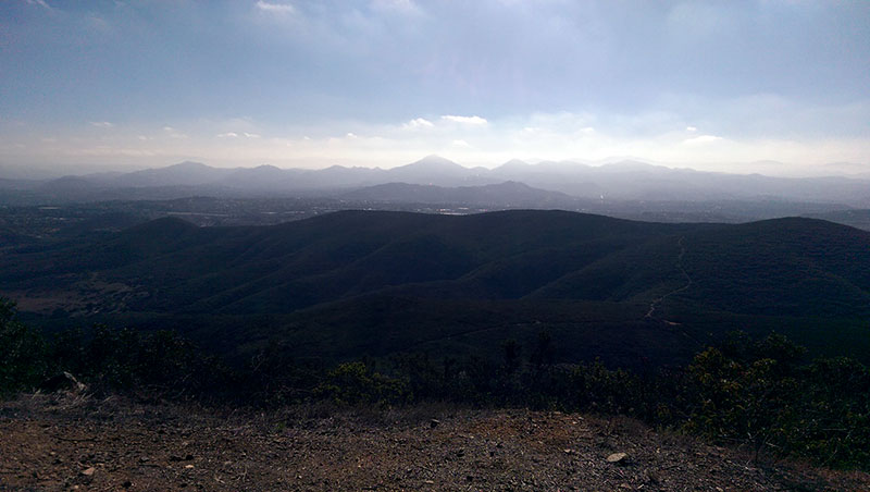 San Diego Hiking: Looking East fom Black Mountain Summit