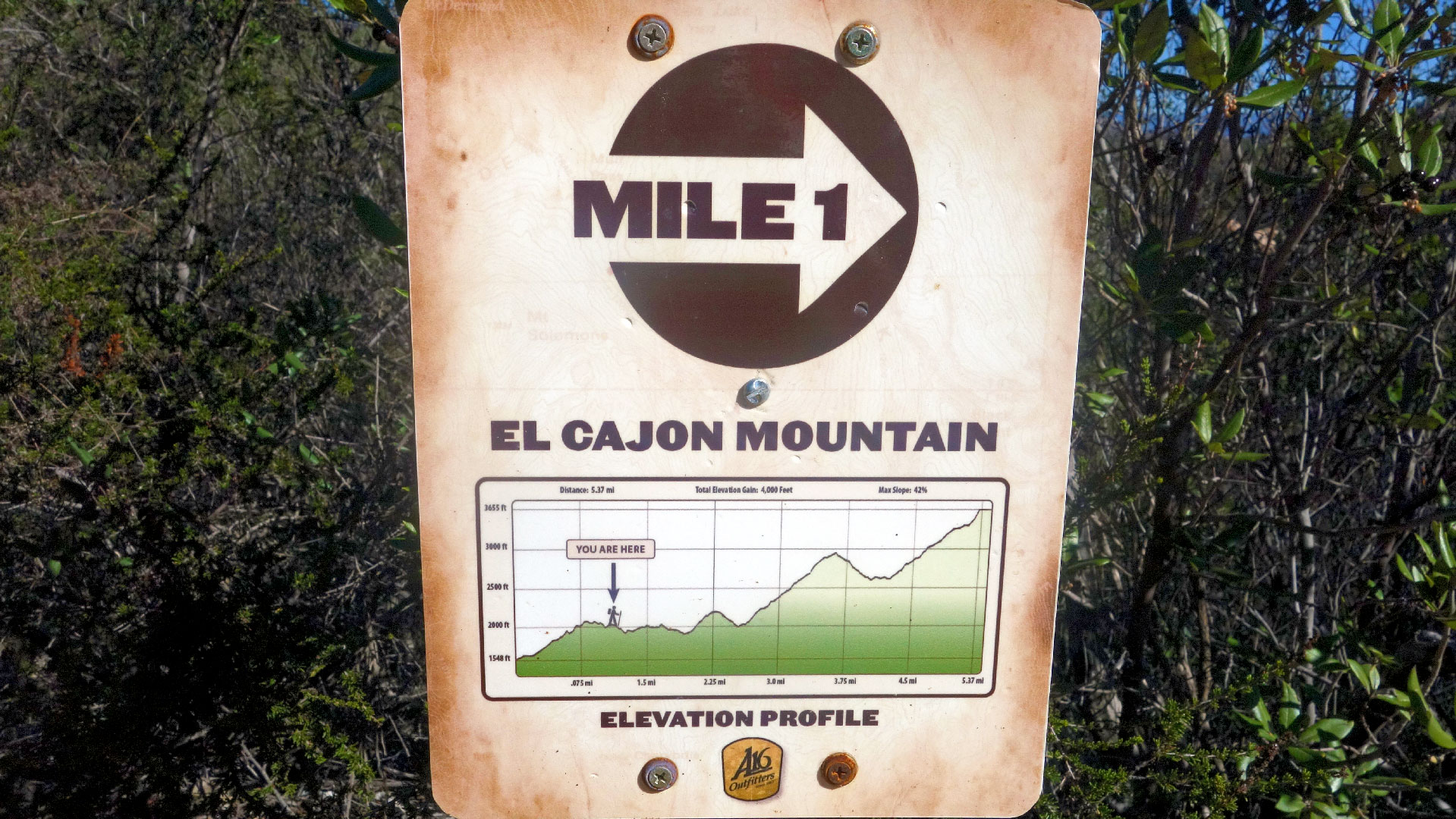 El Cajon Mountain Trail Marker for Mile One