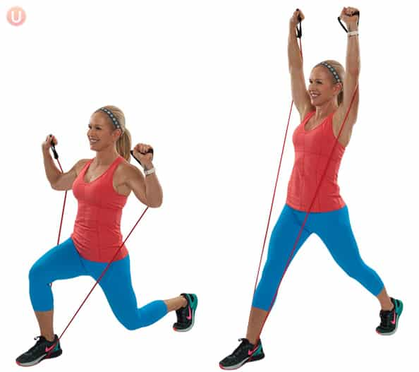 Use a resistance band to make lunges more challenging.