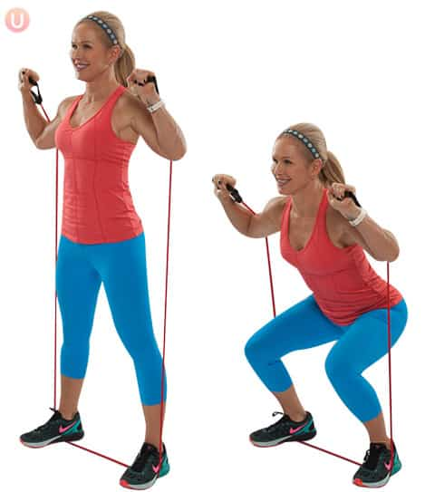 Try resistance band squats for a total body move to tone you head to toe.