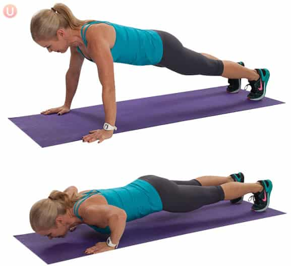 Push-up to plank hold is a fantastic isometric exercise for your total body.