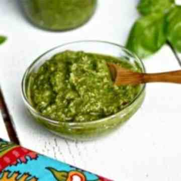 Check out this recipe for homemade pesto! It's one of our top 12 food items that we think all adults should be able to make at home instead of opting for a store-bought brand!