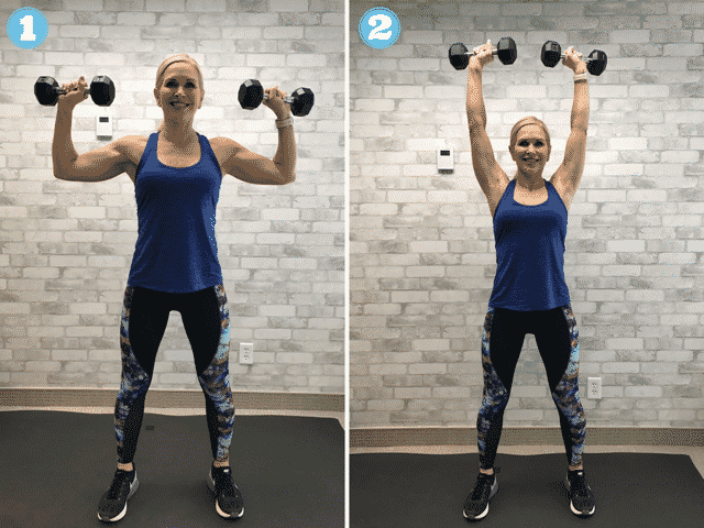 Try this overhead shoulder press to burn calories and build strength.