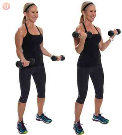 Perform bicep curls to tone your muscles.