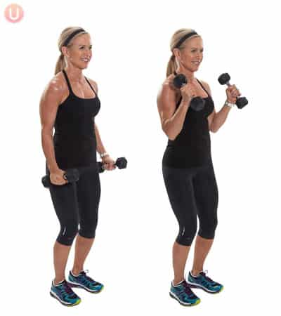 Bicep workouts for women don't have to use light weights; do this 10 minute workout with heavy weights to see results.