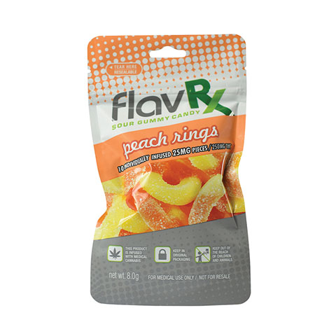 Gummy FlavRX Sour Peach Rings 250mg