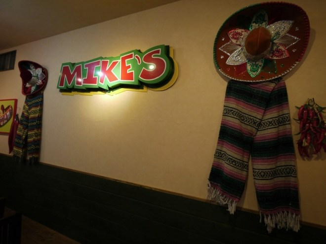 Mike\'s logo on wall