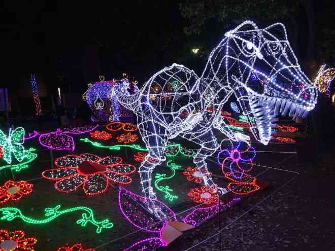 Tyrannosaur in lights at Hiroshima's Dreamination winter illuminations