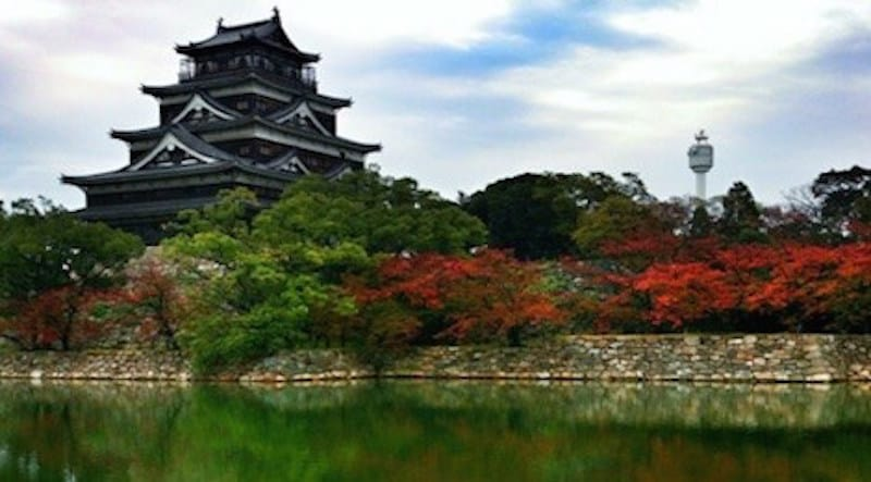 The cherry trees turn red at Hiroshima Castle in autumn