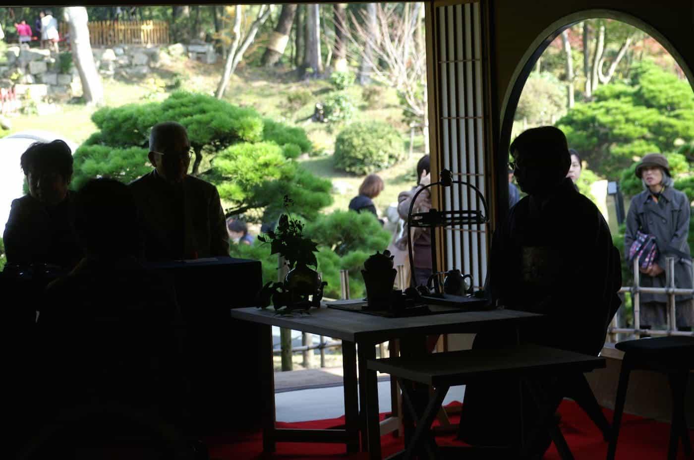 momiji tea ceremony shukkei-en garden in hiroshima japan