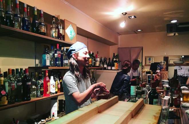 Shuji behind the bar ay Hallelujah in Hiroshima