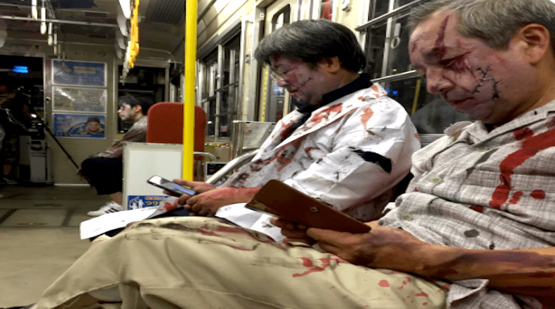 zombies on the streetcar at yokogawa zombie night in hiroshima