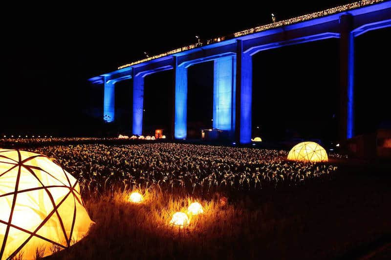 Uzui Station on the picturesque Sanko-sen train line the links Hiroshima and Shimane Prefectures is illuminated to dramatic effect