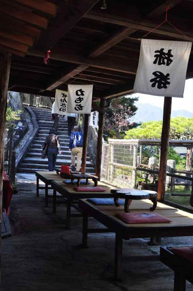 To-no-oka Chaya noodle shop next to the 5 storey pagoda on Miyajima in Hiroshima, Japan