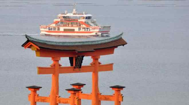 miyajima ferry and great torii gate