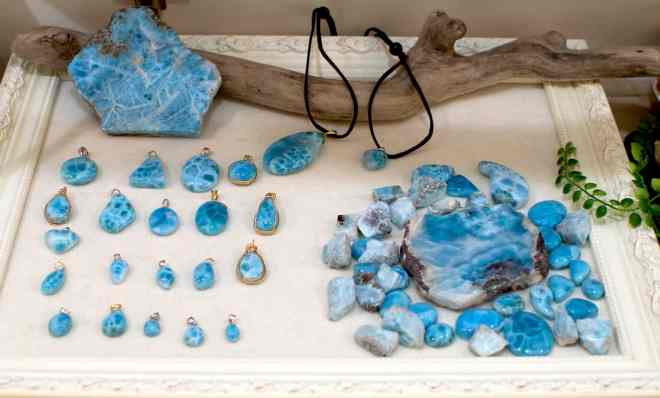 Beautiful blue larimar stones