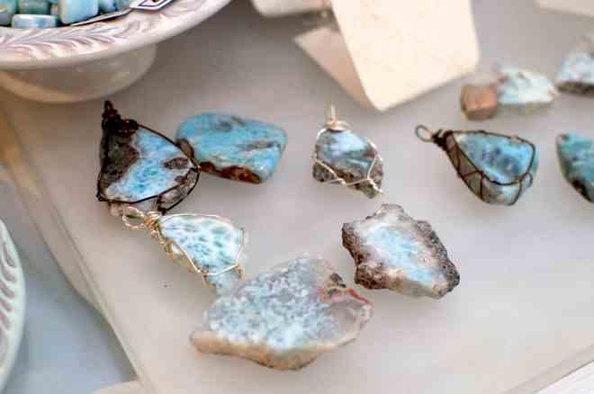 Unfinished larimar jewelry