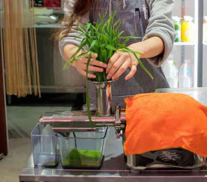 making organic wheatgrass juice at verite cold pressed juice in hiroshima japan