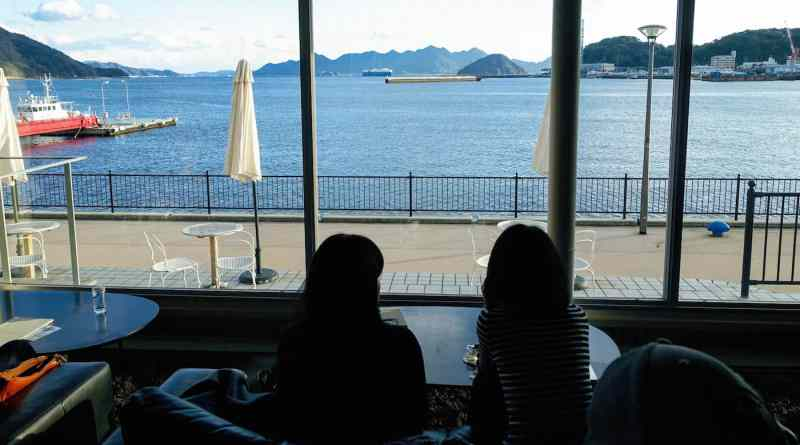 Sea views from 24/7 coffe&roaster cafe on the Ujina waterfront in Hiroshima Japan