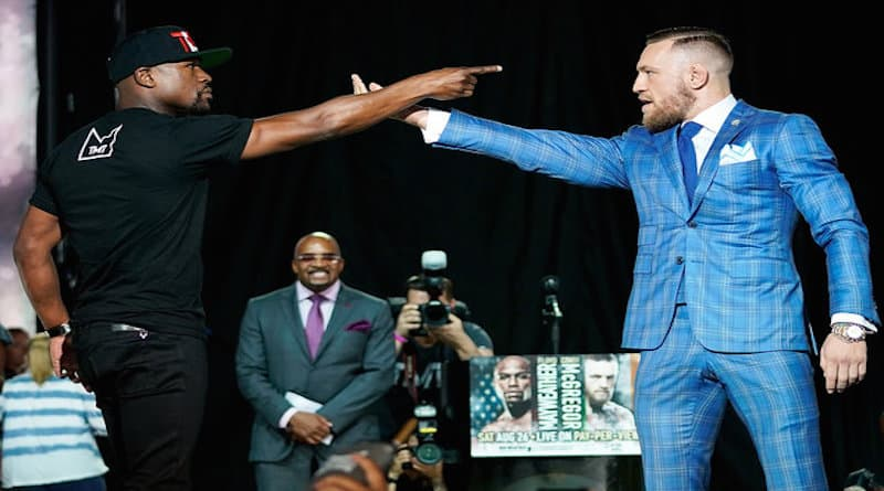 mayweather mcgregor on screen at molly malone's
