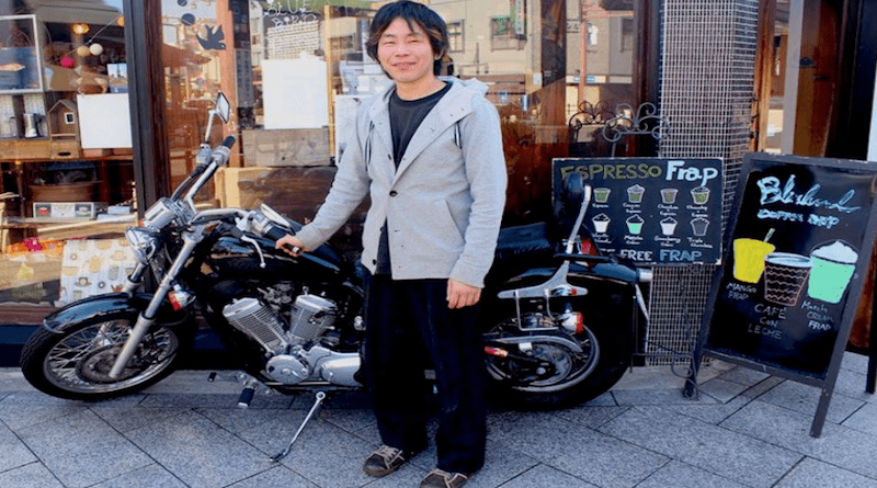 Tomo-san, owner of Bluebird Cafe at Miyajima-guchi in Hiroshima Japan