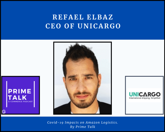 image of Refael Elbaz with the logo of unicargo, prime talk and getida